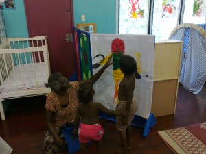 Nami with children in Yirrkala (playgroup)