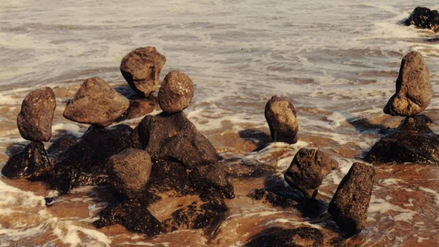 An artists interpretation of family surrounded by wild waters.